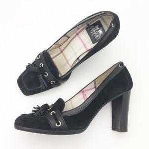 Coach Suede Leather Tassel Kirsty Style Heels Shoe